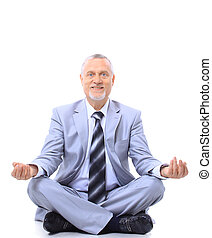 relaxed businessman meditating - relaxed businessman...
