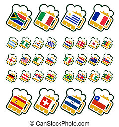 Beer fan glasses - Beer glasses with flags of the leading...