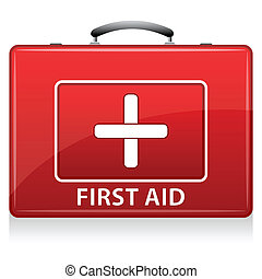 First Aid Box - illustration of first aid box on white...