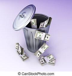 Dollar Trash - Moneytrash can. 3D rendered illustration.