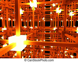 The Grid - 3D rendered Illustration A glowing grid