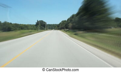 Rural road. Timelapse. - Driving on a rural road in the...