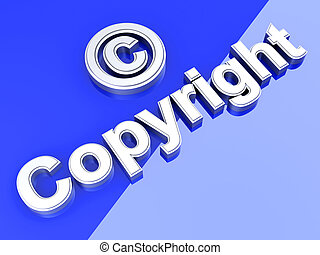 Copyright symbol 3D rendered Illustration