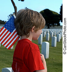 American Tragedy - A grieving child with a flag in a...