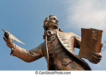 Statue of Thomas Paine author of Rights of Man in Thetford...