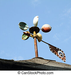 Anemometer - Colorful anemometer with blue sky in the...