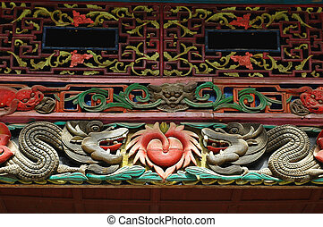 Wooden carving art - Details of ancient wooden carving art...