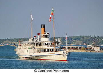 Old steamlboat, Geneva, Switzerland.