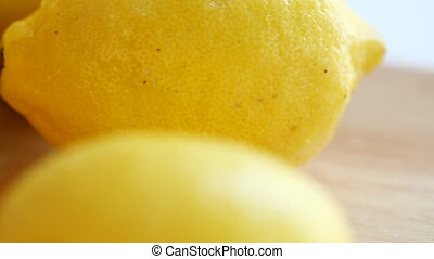 Close up of a fresh lemons - Fresh yellow lemons