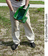 Spreading Grass Seed - A man spreads grass seed coated with...