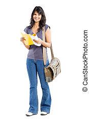 female college student on white - full length portrait of...