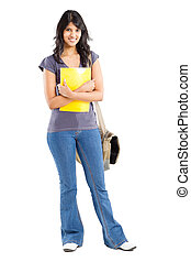 portrait of college student - full length portrait of young...
