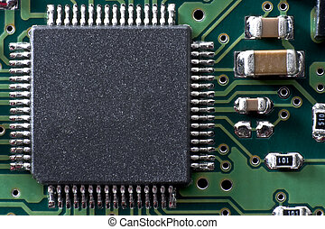 circuit board two - green circuit board with IC and other...