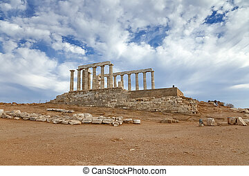 Ruins of Poseidon temple, Greece - Ruins of Poseidon temple,...