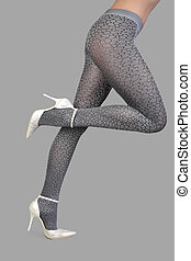 panty-hose - Beautiful woman legs isolated on gray...