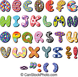 Patterned alphabet - Colorful patterned alphabet set