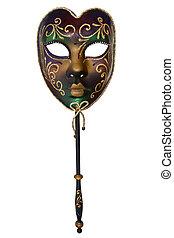 Venetian Mask - Venetian mask with handle, isolated on white...