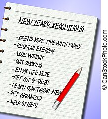 New Years resolutions list - A list of New Year%u2019s...