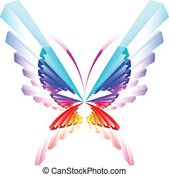 Abstract colorful butterfly Illustration on white background...