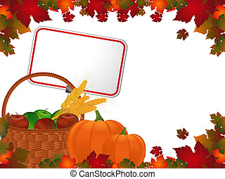 Harvest background and label - Autumn leaf border and basket...