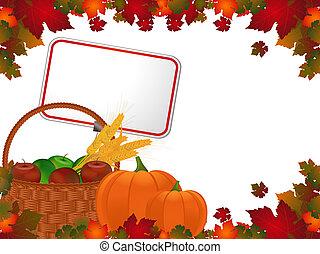Harvest background and label - Autumn leaf border and basket...