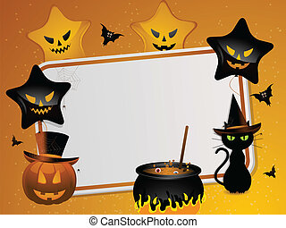 Halloween message background - Pumkin, black cat, cauldron...
