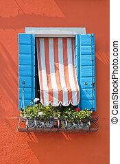 Blue Blended Window On Orange Wall
