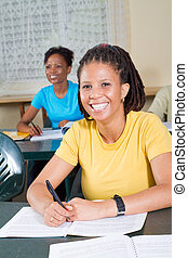african american adult students - happy female african...