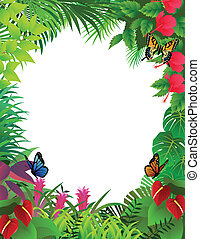 tropical forest background frame - Vecetor illustration of...