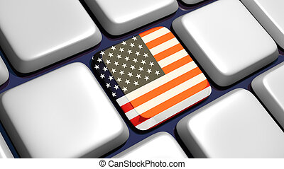 Keyboard (detail) with USA flag key