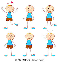 Boy in Different Mood - illustration of set of boy showing...