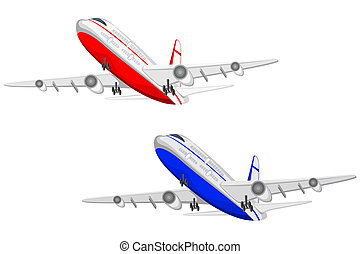 Airplane - illustration of flying airplane on white...