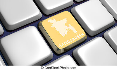 Keyboard detail with Bangladesh map key - 3d made