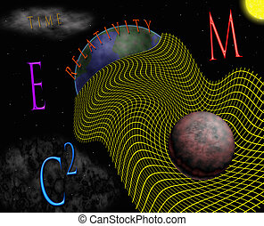 E=MC2 - Abstract illustration of Einstein's space-time and...