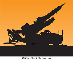 sunset silhouette of a rocket launcher