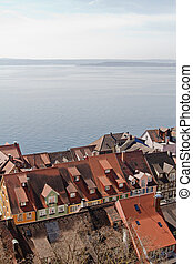 view over the town on the lake constance