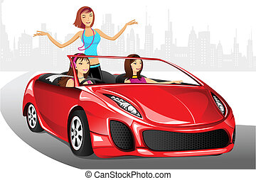 Urban Lady in Car - illustration of urban ladies enjoying...