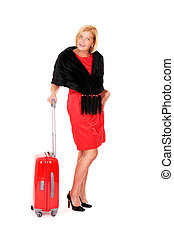 Elegant woman with suitcase