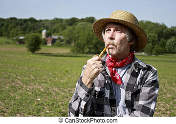 farmer in straw hat