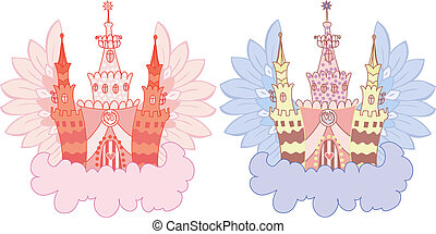 Cartoon fairy castle set