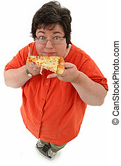 Happy Obese Woman on Scale with Pizza - Happy confident...