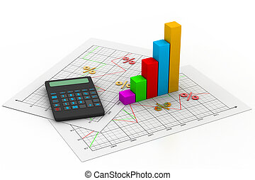 Business chart with calculator