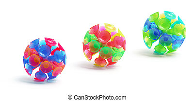 Suction Balls on White Background