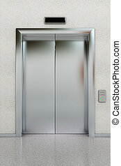 Closed elevator - Front view of a modern elevator with...