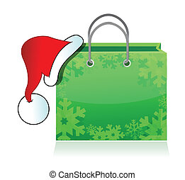shopping bag with Santas hat isolated on white background...