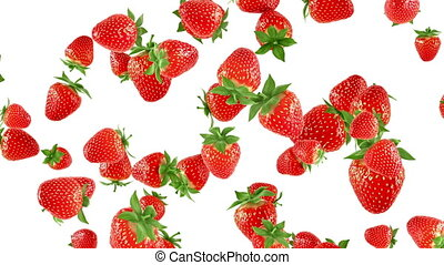 Falling strawberries on white background. Photorealistic 3d...