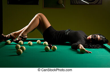 woman in the billiard club - beautiful woman wearing a hat...
