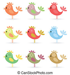 Birdie2 - Set of small cheerful birdies A vector...