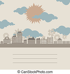 City a frame - The sun on a city about flowers. A vector...