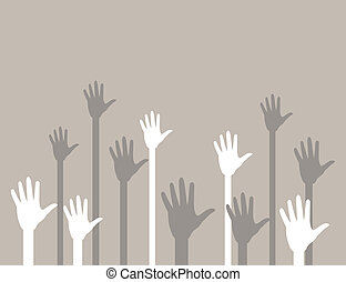 Hands upwards2 - Hands last upwards in a greeting. A vector...